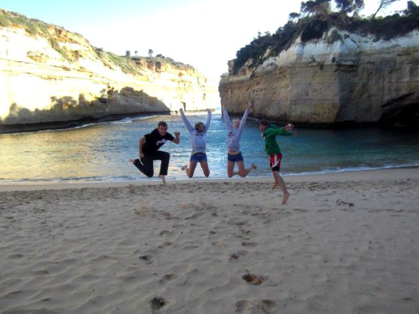 Jumping with happiness at Loch Ard Gorge