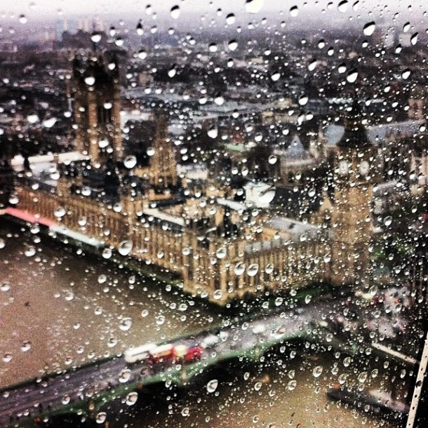 Proof that London can be nice in the rain. Of course, I'm not actually in the rain for this photo (view from London Eye)