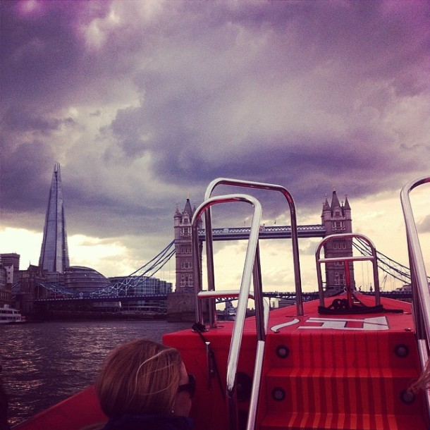 Getting a good view via speed boat. As you do