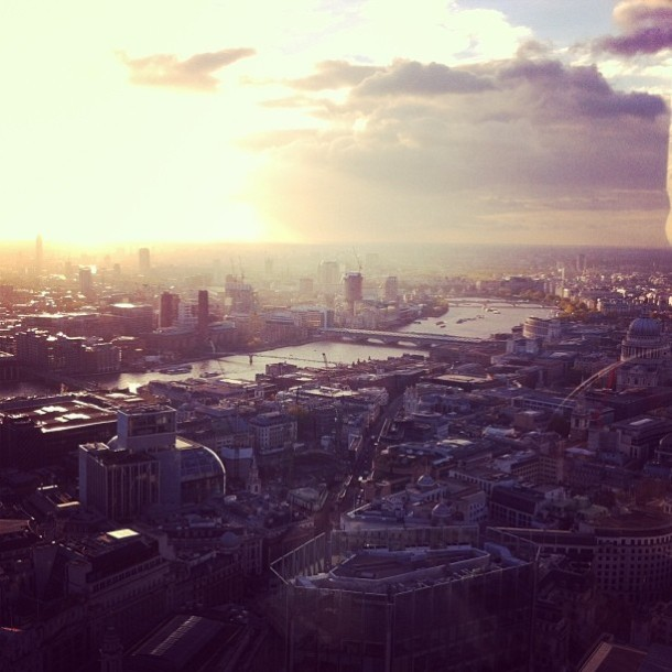 One of my favourite photos. This was while having afternoon tea with my mum at Vertigo 42 - basically by the Gherkin